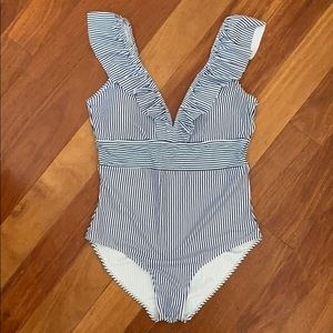 Other - NWOT Adorable Ruffle Striped One-Piece Swimsuit